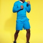 Athletic black man in sportswear fashion. Boxer. Intense colors. — Stock Photo #41667105