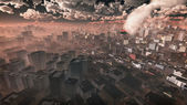 Aerial of airplane crashing in skyscraper city. Dark cloudy sky. — Stock Photo