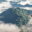 Red airplane flying over mountains with pine trees in the clouds — Stock Photo #49385215