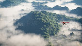 Red airplane flying over mountains with pine trees in the clouds — Stock Photo
