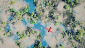 Aerial of red airplane flying over forest with lakes and clouds. — Stock Photo
