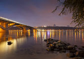 Kyiv Metro bridge at night — Stock Photo