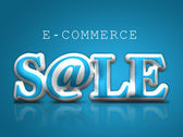 E-commerce icon on blue background — Stock Photo