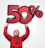 Big sale. Amazed man holding 3d plate. Red 3D 50-Percent. — Stock Photo