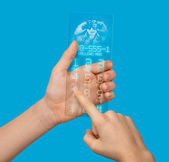 Conceptually transparent mobile phone of the future with a hologram in hand — Stock Photo
