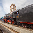 KIEV, UKRAINE - May 2013. Retro Soviet steam locomotive for tourists on the Central Railway Station on May 2013 in Kiev, UKRAINE. Locomotive assembled at the Voroshilovgrad Locomotive Works in 1953. — Stock Photo