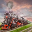 Retro Soviet steam locomotive — Stock Photo #25279039