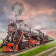 Retro Soviet steam locomotive — Stock Photo