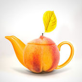 Concept peach teapot — Stock Photo
