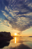 Mountain sunrise at Black sea — Stock Photo