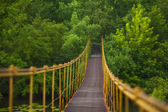 Metal suspension bridge over the river — Stock Photo