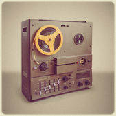 Soviet Retro audio tape recorder on vintage background and stylized instagram — Stock Photo