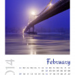 Stock Photo: Photo calendar with minimalist landscape 2014. February
