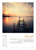 Photo calendar with minimalist landscape 2014. August. — Stock Photo