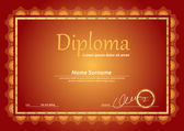 Horizontal diploma template with guilloche pattern and border — Stock Vector