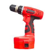 Isolated electric drill power tool in red — Stock Photo