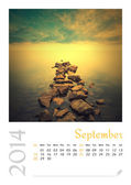 Photo calendar with minimalist landscape 2014. September. Version 2 — Stockfoto