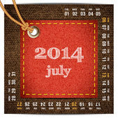 2014 year vector calendar stylized jeans. July — Stock Vector