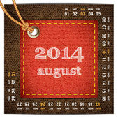 2014 year vector calendar stylized jeans. August — Stock Vector