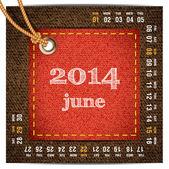 2014 year vector calendar stylized jeans. June — Stock Vector