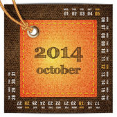 2014 year vector calendar stylized jeans. October — Stock Vector