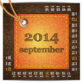 2014 year vector calendar stylized jeans. September — Stock Vector