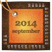 2014 year vector calendar stylized jeans. September — Stock Vector