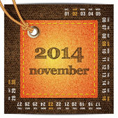 2014 year vector calendar stylized jeans. November — Stock Vector