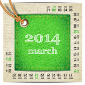 2014 year vector calendar stylized jeans. March — Stock Vector