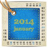 2014 year vector calendar stylized jeans. January — Stock Vector