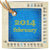 2014 year vector calendar stylized jeans. February — Stock Vector