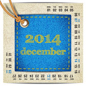 2014 year vector calendar stylized jeans. December — Stock Vector