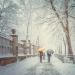 Stock Photo: Snowy city park and people with umbrellas