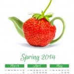 Photo calendar with concept strawberry teapot. Spring 2014. — Stock Photo #37140889