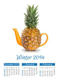 Photo calendar with concept pineapple teapot. Winter 2014. — Stock Photo