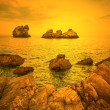 Stock Photo: Golden sunset on sea