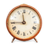 Old Clock Isolated on white background and clipping path — Stock Photo