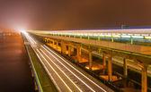 Metro bridge in Kiev in the fog at night — Stock Photo