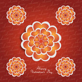 Happy Valentine's Day lettering Greeting Card on red background with heart stylized flowers — Stock Vector