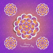 Happy Valentine's Day lettering Greeting Card on pink background with heart stylized flowers — Stock Vector