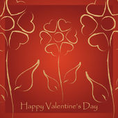 Valentine's day card with stylized flowers hearts — Vecteur