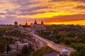 Evening City. Historic District Kamyanets-Podolsky City. Ukraine — Stock Photo