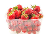 Fresh ripe perfect strawberry in box on white background — Stock Photo