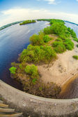 View of Dnieper river in Kiev through fish eye lens — Stock Photo