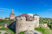 View of medieval half-ruined castle in Kamenetz-Podolsk, Ukraine — Stock Photo