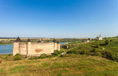 View of medieval half-ruined castle in Hotin, Ukraine — Stock Photo