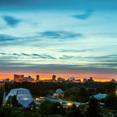 Kiev city skyline panorama at evening — Stock Photo
