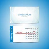 Business card - calendar template 2015. January — Stock Vector
