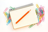 Office and school accessories. Pencil and notebook isolated on white background. — Stock Photo