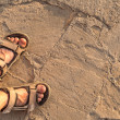 Man feet on beach sand — Stock Photo #51630313